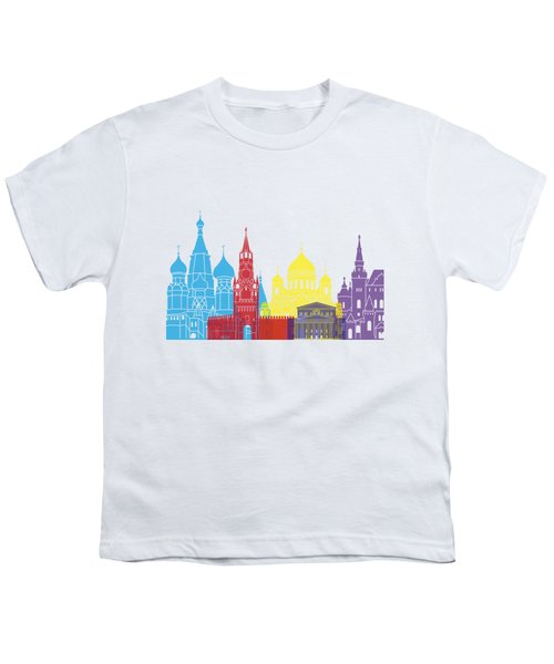 Moscow Skyline Pop Youth T-Shirt by Pablo Romero
