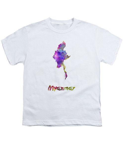 Myanmar In Watercolor Youth T-Shirt by Pablo Romero