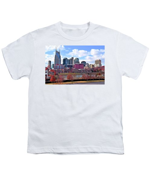 Nashville On The Riverfront Youth T-Shirt by Frozen in Time Fine Art Photography