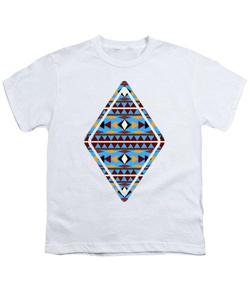 Navajo Blue Pattern Art Youth T-Shirt by Christina Rollo