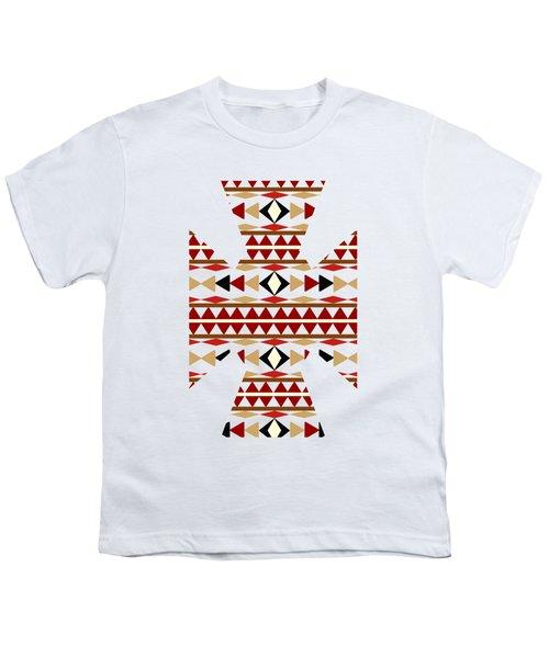 Navajo White Pattern Art Youth T-Shirt by Christina Rollo