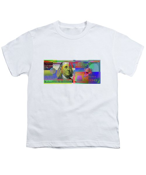 2009 Series Pop Art Colorized U. S. One Hundred Dollar Bill  V.3.0 Youth T-Shirt by Serge Averbukh