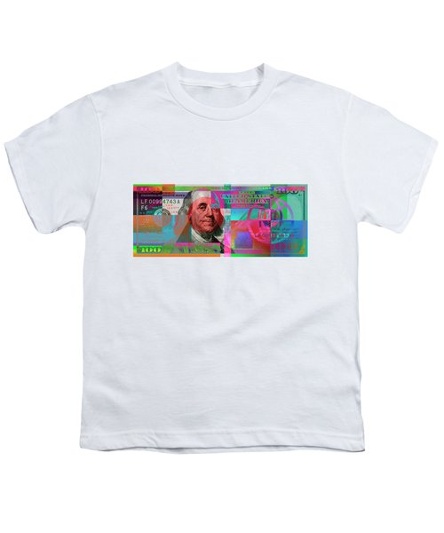 New 2009 Series Pop Art Colorized Us One Hundred Dollar Bill  V.3.2 Youth T-Shirt by Serge Averbukh