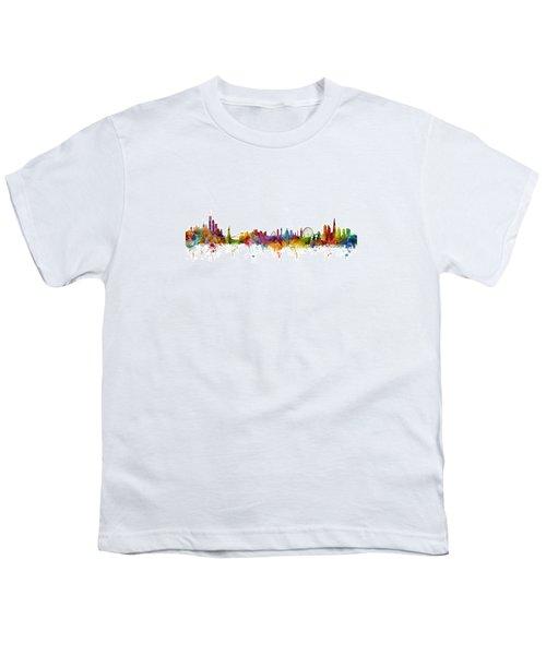 New York And London Skyline Mashup Youth T-Shirt by Michael Tompsett