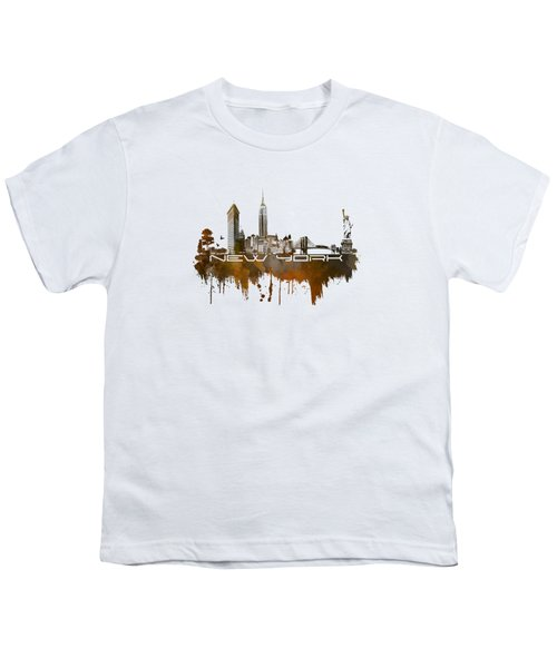 New York City Skyline Brown Youth T-Shirt by Justyna JBJart