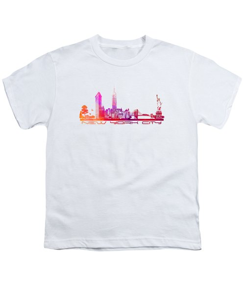 New York City Skyline Purple Youth T-Shirt by Justyna JBJart