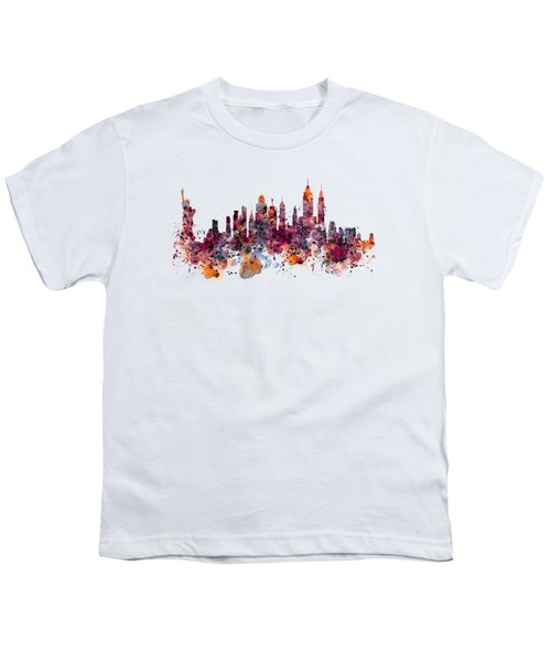 New York Skyline Watercolor Youth T-Shirt by Marian Voicu