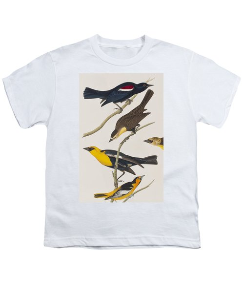Nuttall's Starling Yellow-headed Troopial Bullock's Oriole Youth T-Shirt by John James Audubon