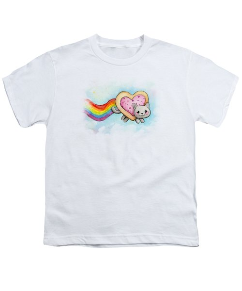 Nyan Cat Valentine Heart Youth T-Shirt by Olga Shvartsur