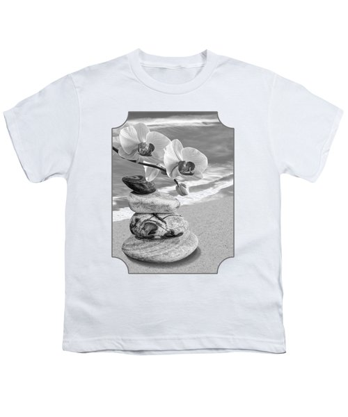 Orchids And Pebbles On The Sand In Black And White Youth T-Shirt by Gill Billington