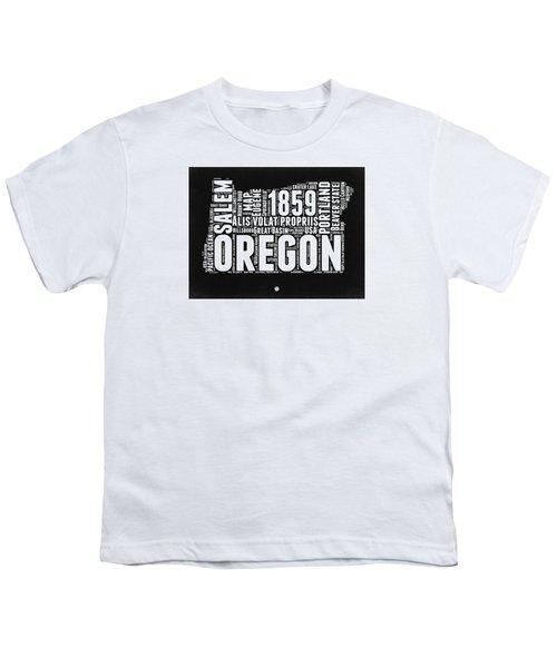 Oregon Black And White Map Youth T-Shirt by Naxart Studio