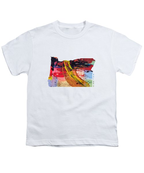 Oregon Map Art - Painted Map Of Oregon Youth T-Shirt by World Art Prints And Designs