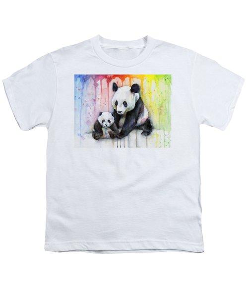 Panda Watercolor Mom And Baby Youth T-Shirt by Olga Shvartsur