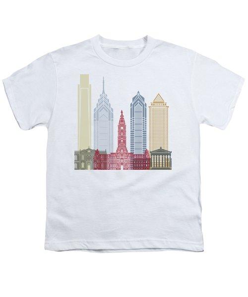 Philadelphia Skyline Poster Youth T-Shirt by Pablo Romero