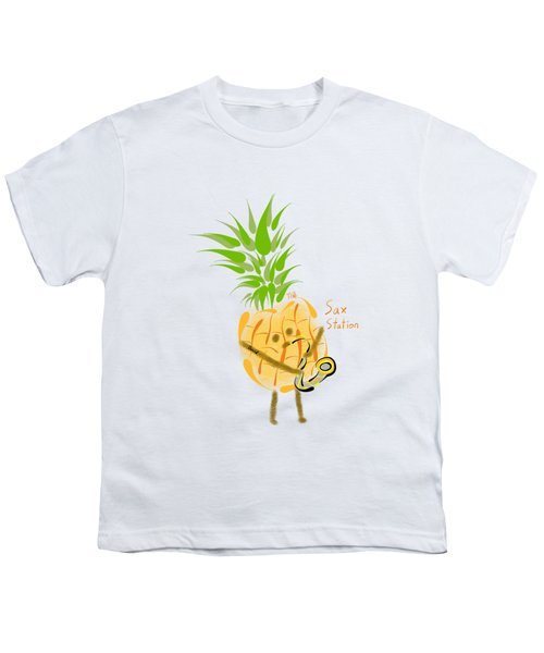 Pineapple Playing Saxophone Youth T-Shirt by Neal Battaglia