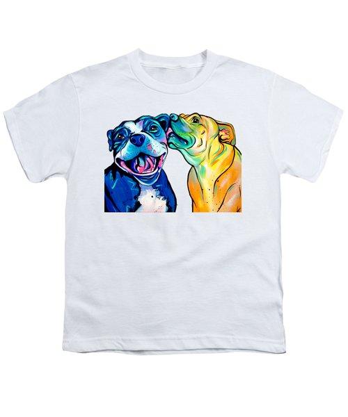 Pitbull Kisses Youth T-Shirt by Abbi Kay