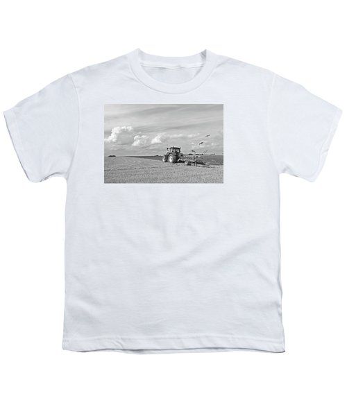 Ploughing After The Harvest In Black And White Youth T-Shirt by Gill Billington