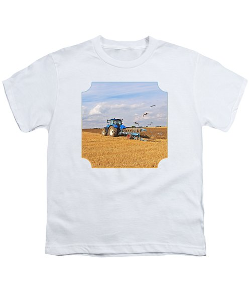 Ploughing After The Harvest - Square Youth T-Shirt by Gill Billington