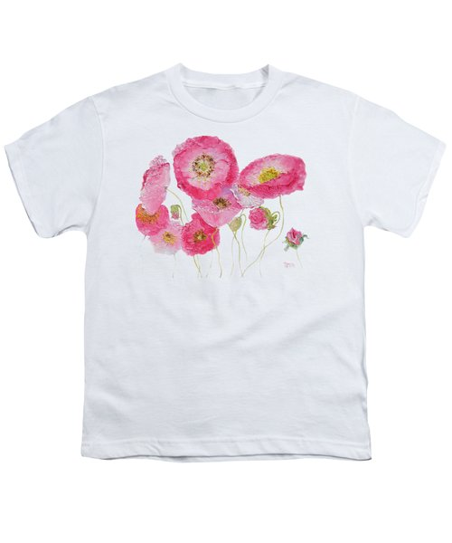 Poppy Painting On White Background Youth T-Shirt by Jan Matson