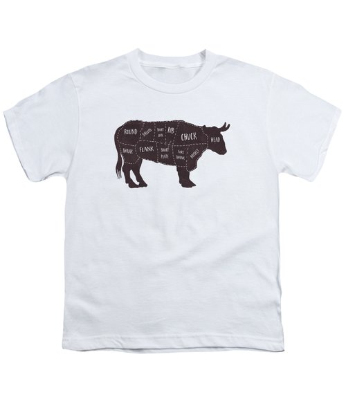Primitive Butcher Shop Beef Cuts Chart T-shirt Youth T-Shirt by Edward Fielding