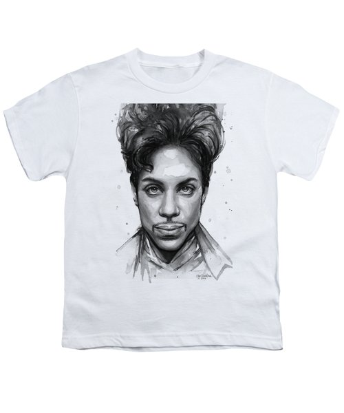 Prince Watercolor Portrait Youth T-Shirt by Olga Shvartsur