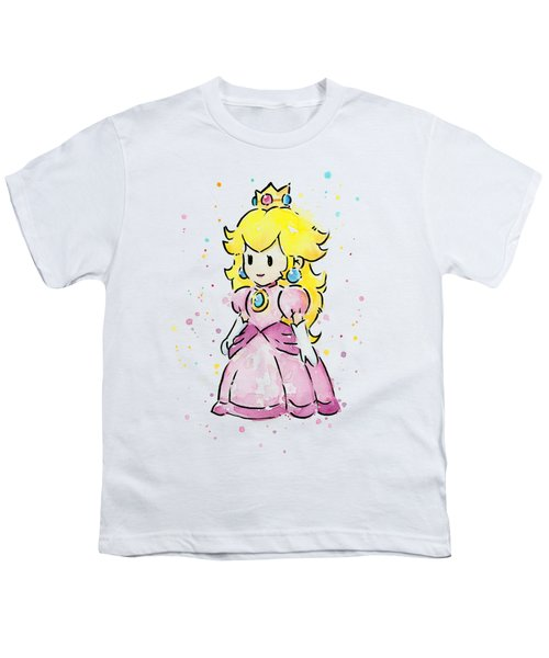 Princess Peach Watercolor Youth T-Shirt by Olga Shvartsur