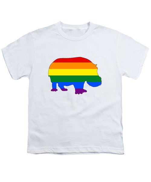 Rainbow Hippo Youth T-Shirt by Mordax Furittus