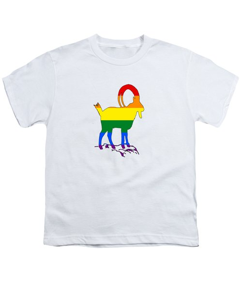 Rainbow Ibex Youth T-Shirt by Mordax Furittus