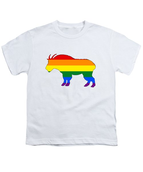 Rainbow Mountain Goat Youth T-Shirt by Mordax Furittus
