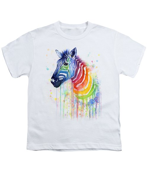 Rainbow Zebra - Ode To Fruit Stripes Youth T-Shirt by Olga Shvartsur