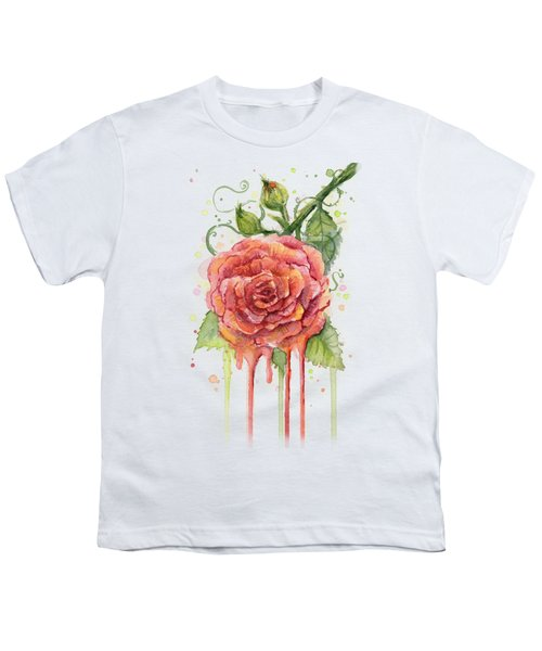 Red Rose Dripping Watercolor  Youth T-Shirt by Olga Shvartsur