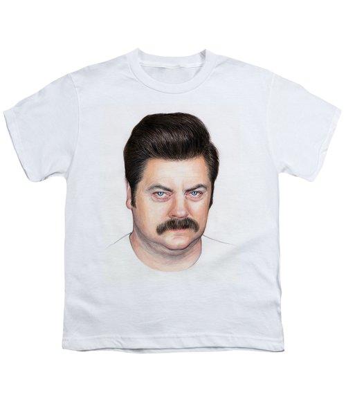 Ron Swanson Portrait Nick Offerman Youth T-Shirt by Olga Shvartsur