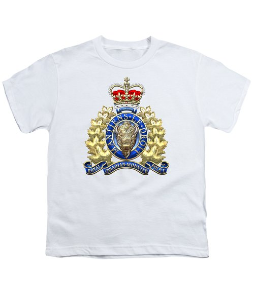Royal Canadian Mounted Police - Rcmp Badge On White Leather Youth T-Shirt by Serge Averbukh