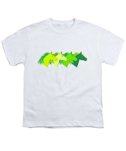 Running Horse Lime Youth T-Shirt by Alexsan