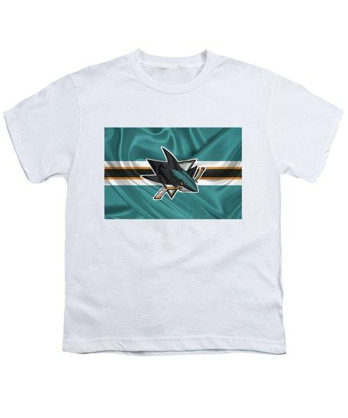 San Jose Sharks - 3 D Badge Over Silk Flagsan Jose Sharks - 3 D Badge Over Silk Flag Youth T-Shirt by Serge Averbukh