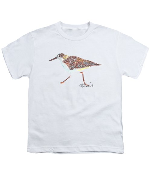 Sandpiper Bird Youth T-Shirt by Kathleen McElwaine