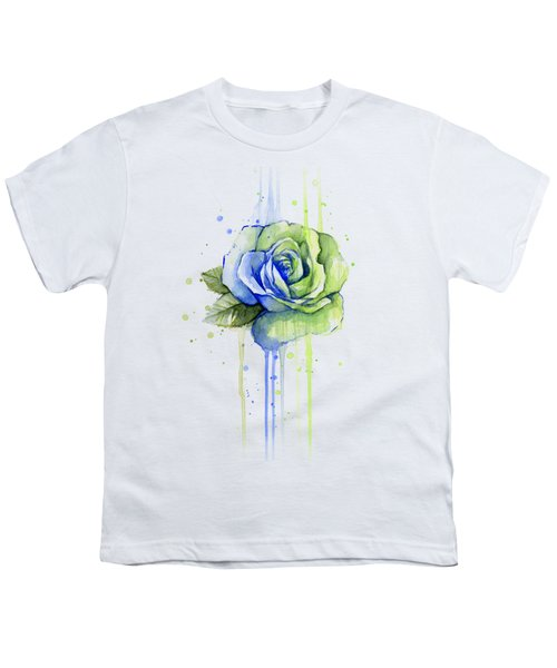 Seattle 12th Man Seahawks Watercolor Rose Youth T-Shirt by Olga Shvartsur