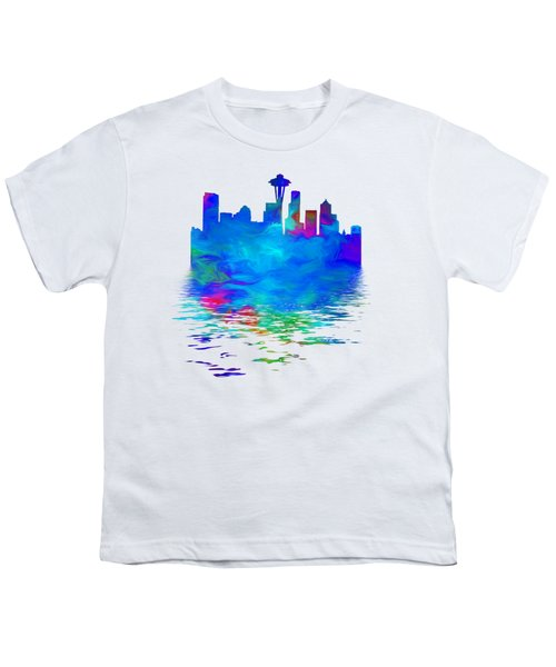 Seattle Skyline, Blue Tones On White Youth T-Shirt by Pamela Saville