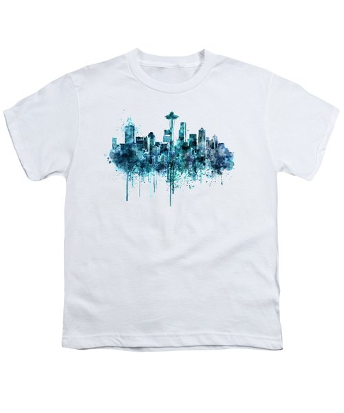 Seattle Skyline Monochrome Watercolor Youth T-Shirt by Marian Voicu