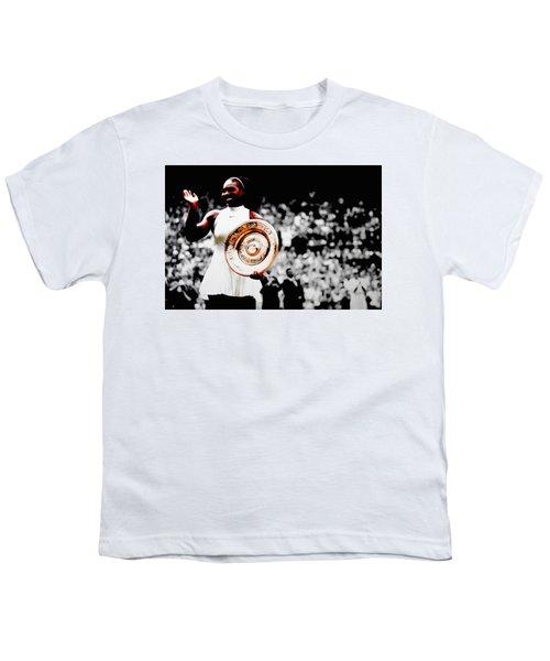 Serena 2016 Wimbledon Victory Youth T-Shirt by Brian Reaves