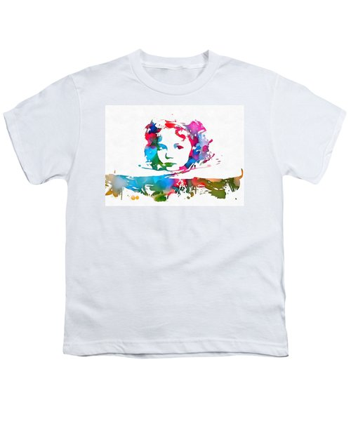 Shirley Temple Watercolor Paint Splatter Youth T-Shirt by Dan Sproul