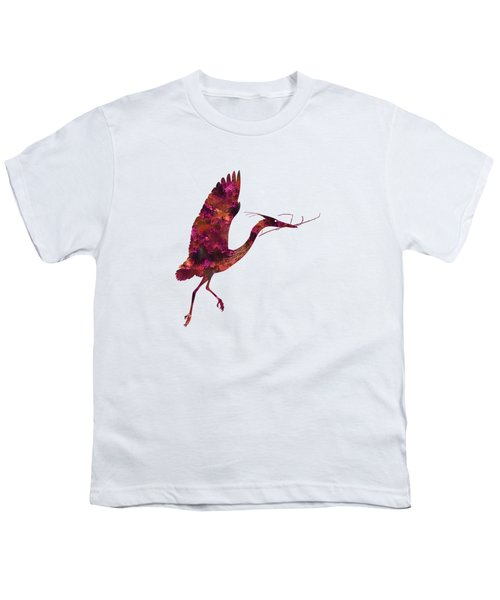 Colorful Great Blue Heron Silhouette Youth T-Shirt by Shara Lee