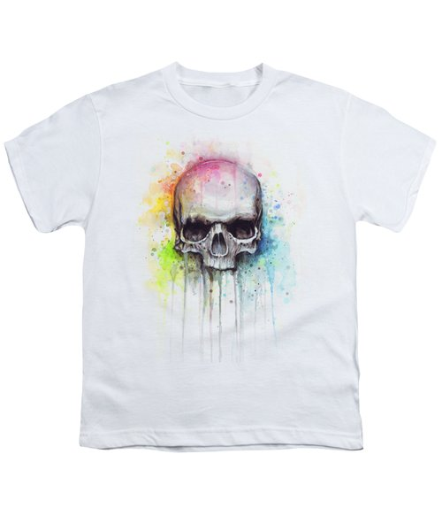 Skull Watercolor Painting Youth T-Shirt by Olga Shvartsur