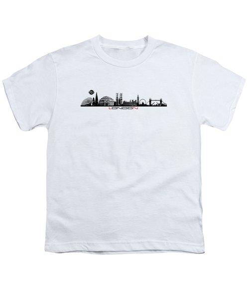skyline city London black Youth T-Shirt by Justyna JBJart