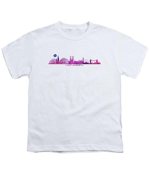 skyline city London purple Youth T-Shirt by Justyna JBJart