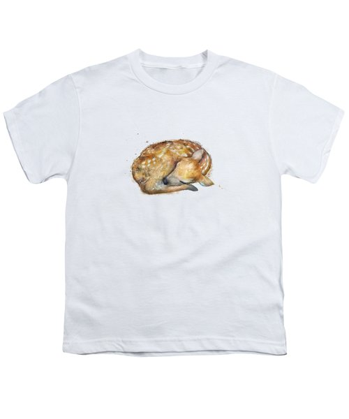 Sleeping Fawn Youth T-Shirt by Amy Hamilton