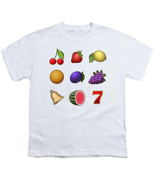 Slot Machine Fruit Symbols Youth T-Shirt by Miroslav Nemecek