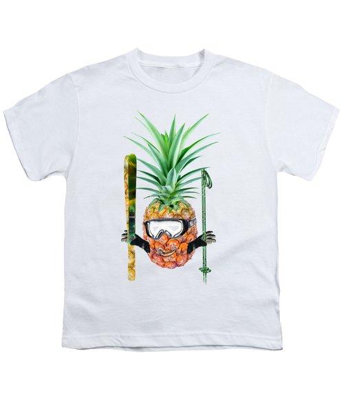 Smiling Pineapple-downhill Skier Youth T-Shirt by Elena Nikolaeva