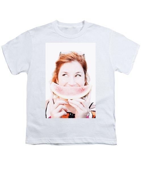 Smiling Summer Snack Youth T-Shirt by Jorgo Photography - Wall Art Gallery