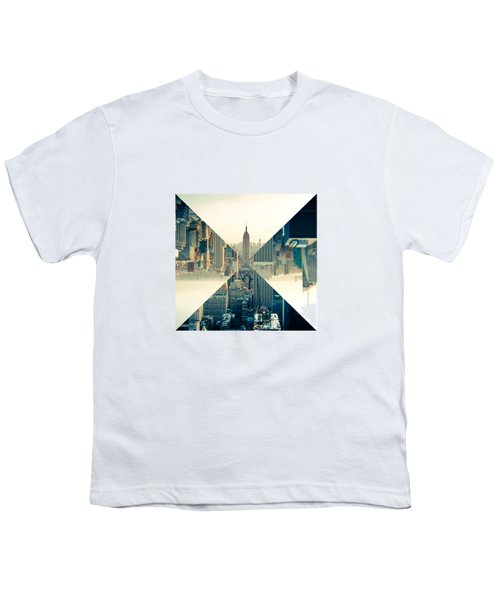 Split Skyline Ny Youth T-Shirt by Jamie Kingswood